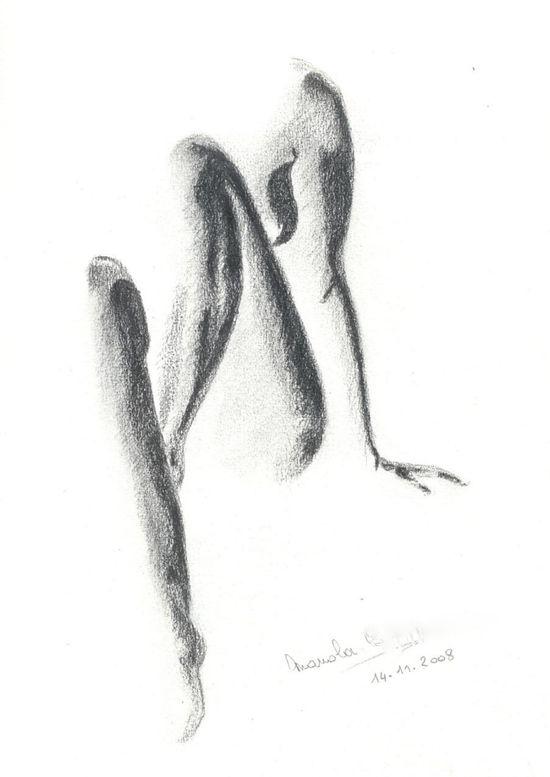 Les nus - mine de plomb - By Manola