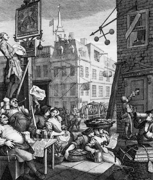 ウィリアム・ホガースの『ビール街』より。『ジン横丁』と対を成す絵で、ジンは堕落の酒、ビールは祝福の酒とでも言わんばかりに 飲酒を健康的に楽しむ人々の姿が描かれております。QT William Hogarth - Beer Street