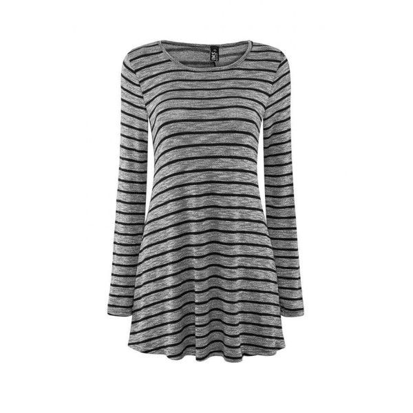 Yoins High Neck Stripe A-Line Dress ($17) ❤ liked on Polyvore featuring dresses, tops, vestidos, grey, short a line dresses, mini dress, striped dress, striped mini dress and high neck dress