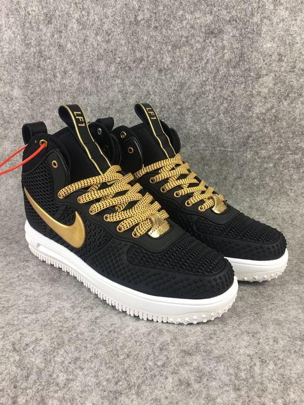 2018 Spring Fashion Nike Lunar Force 1 Duckboot High Black Gold ... 03cacebaa7