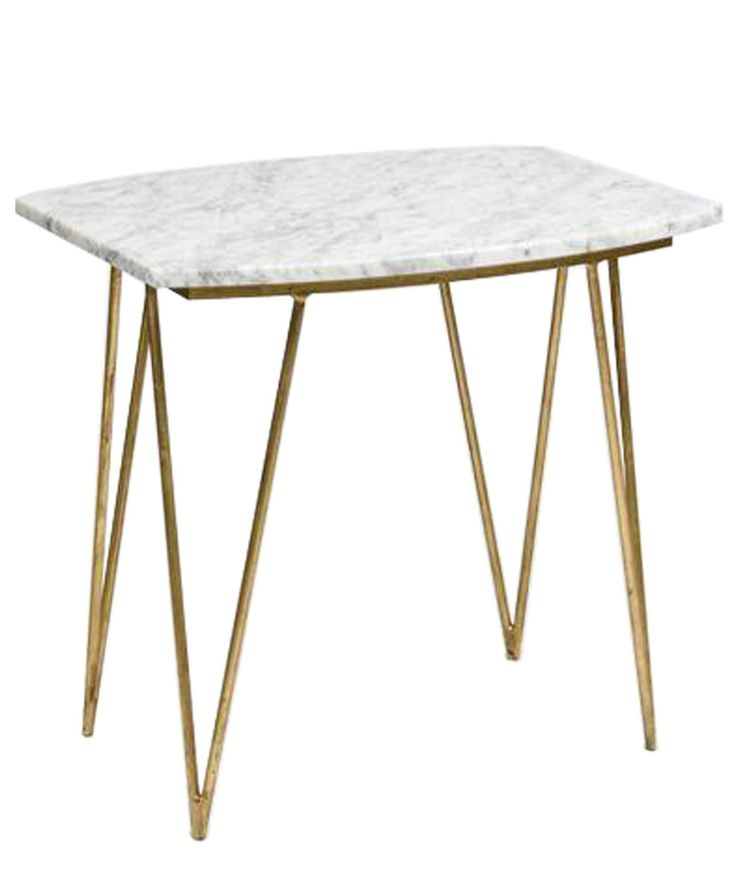 Fabulous Mid Century Modern Style Metal Base   Available In Either Gold Or  Silver   Polished White Marble Table Top With Grey Veining   Measures X X  High ...