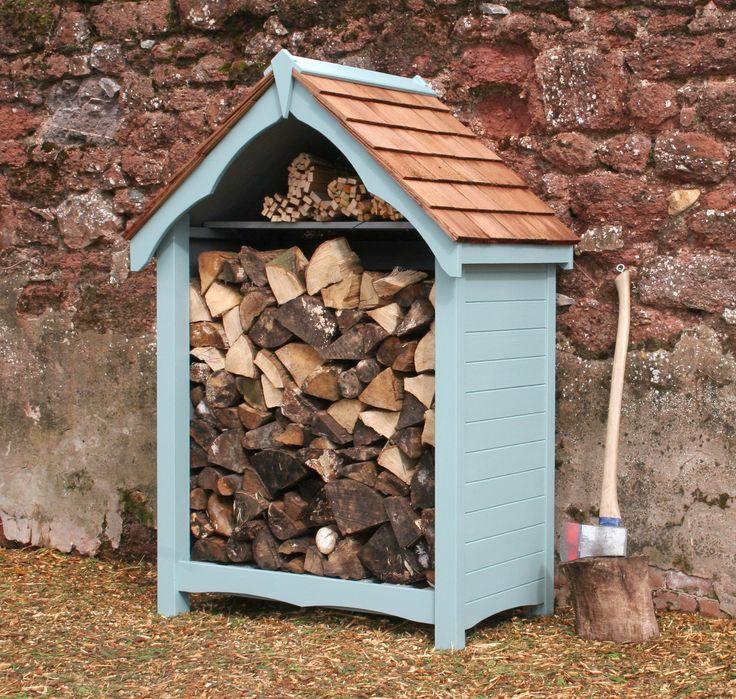 log store finished in tikkurila ultra blue handmade garden storage company exeter devon