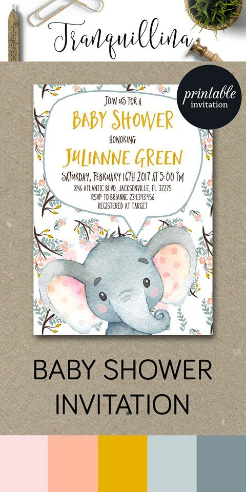 Elephant Invitation, Elephant baby Shower invitations, Girl baby Shower Invite, Jungle baby Shower invitation Printable, Digital File - pinned by pin4etsy.com