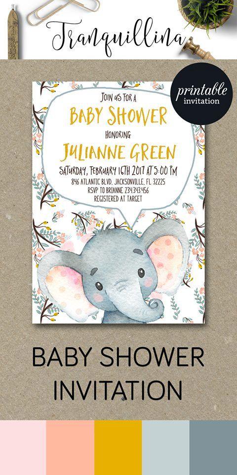 Elephant Baby Shower Invitation Printable, Girl Baby Shower Invitation, Girl Elephant Invitation, Jungle Animal Baby Shower Invitation. tranquillina.etsy.com