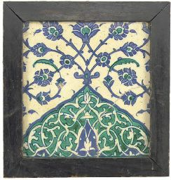 Idea to display a really neat tile - A Damascus pottery tile, Syria, 17th century