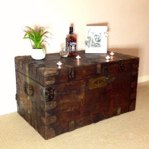 Old Vintage Antique Storage Trunk Blanket Box Retro Chest Steamer Coffee Table Ebay