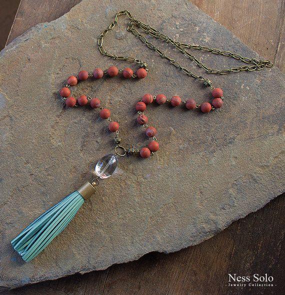 Кожа кисточкой ожерелье Boho ожерелья богемной украшения от NessSolo