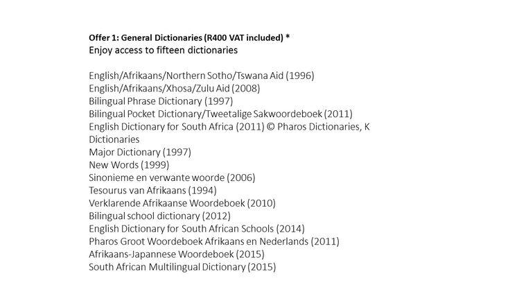 PharosOnline: General dictionaries package