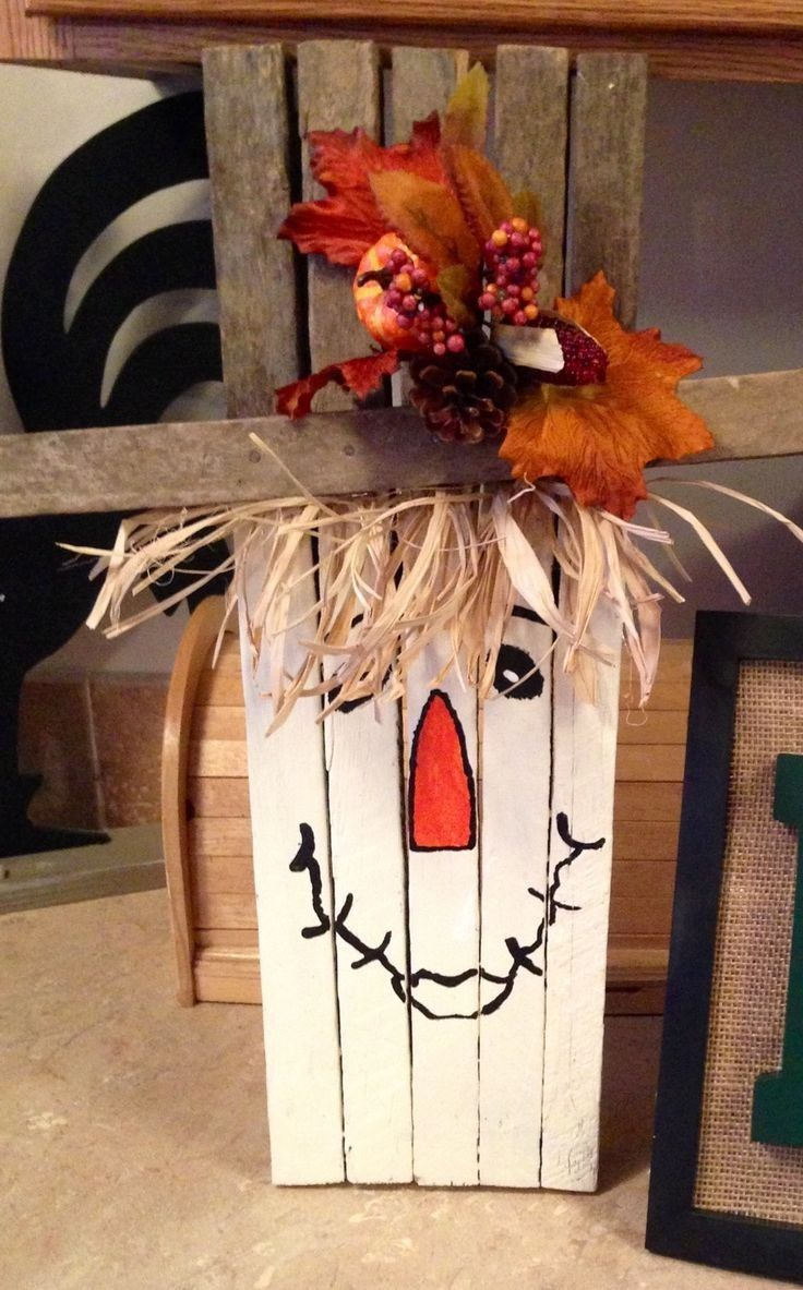 Wooden craft boxes to decorate - Thanksgiving Handmade Tobacco Stick Scarecrow Crafts 2014 Yard Decor Wood Leaves 2014