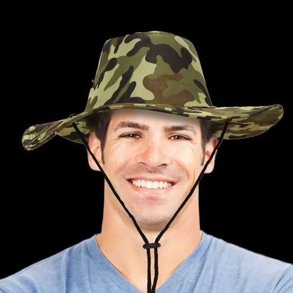 You can blend right in to your next event with help from this camouflage western cowboy hat! This high-crowned and wide-brimmed hat is designed to keep the sun off your face and will make a great accessory for camping, hiking, hunting, golfing, a day at the beach and so much more. Please order in increments of 1 piece. Sold unimprinted only. For a one-size-fits-all item that all can enjoy, look no further!