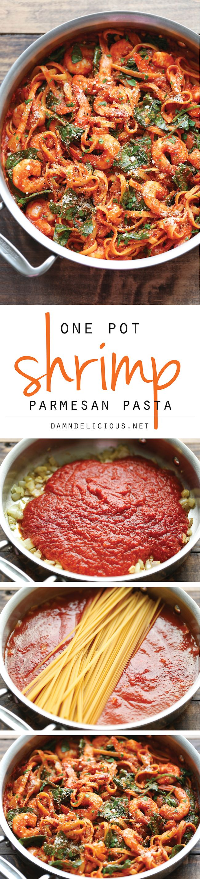 One Pot Shrimp Parmesan Pasta - The boring old spaghetti gets a fun twist in this super easy one pot meal - even the pasta gets cooked right in! N.B. I personally would NEVAH use the suggested commercial sauce . Perhaps Bertoli or Barilla brands would also work....pj