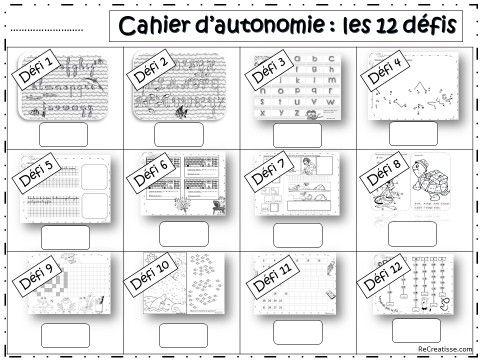 12 défis : cahier d'autonomie
