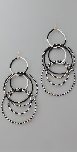 noir jewelry - beaded multi hoop earrings