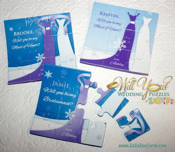 Ask Asking Bridesmaid, Winter Wedding Edition by WillYouWeddingPuzzle, $7.50