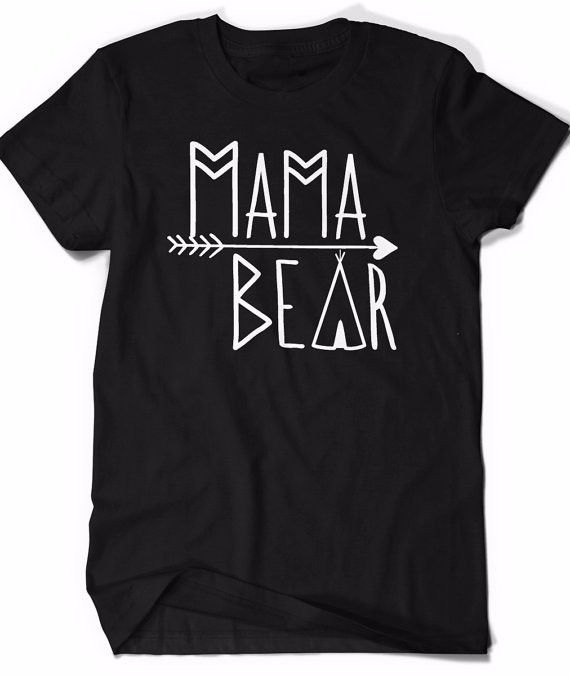 Mama Bear Tribal Aztec Black Graphic T-shirt With A Teepee and Arrow Design