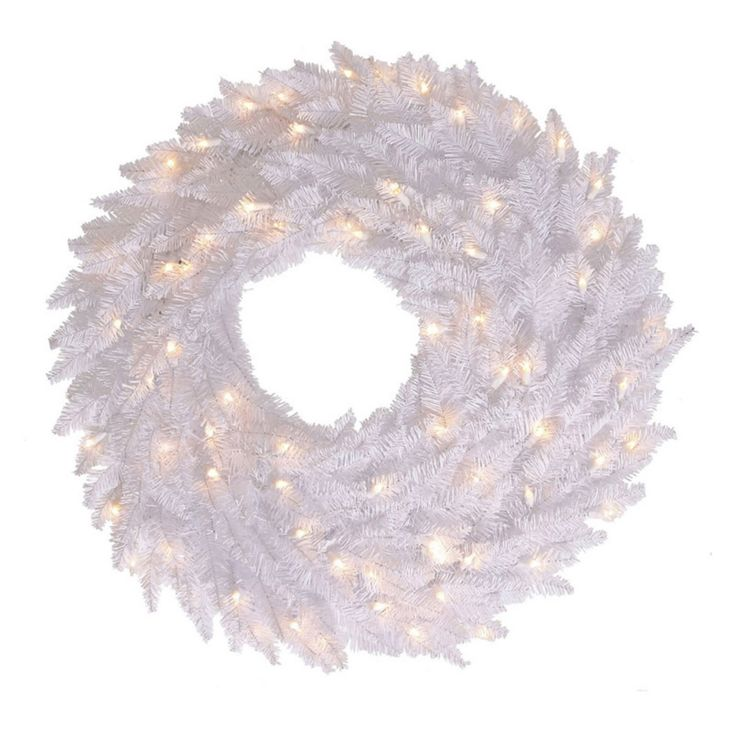 Vickerman 30 in. White Fir Pre-Lit Wreath with 100 Warm White Lights - K160331LED