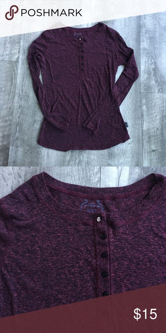 Prana Henley Top - Maroon This shirt says large but I am a small and it fits perfectly!! I think the previous owner may have shrunk it. I am just trying to downsize my wardrobe; this has no flaws but does show normal wear. Great for yoga, the gym, or just around the town. I replaced the top button ☺️ offers welcome. Bundle for a private discount! Prana Tops Tees - Long Sleeve