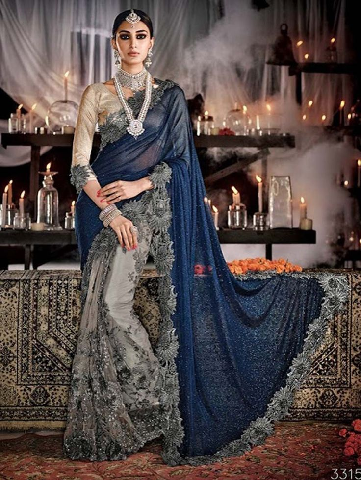 Grey+with+Blue+Heavy+Embroidery+Work+Designer+Saree