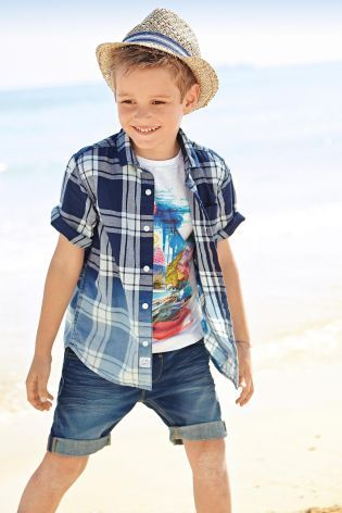 Buy Navy Check Dip Dye Short Sleeve Shirt (3-16yrs) from the Next UK online shop