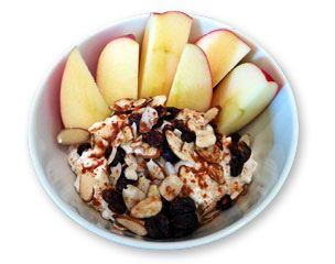 A power snack- Cottage Cheese and Apples    1 Cup cottage cheese nonfat or lowfat  2 Tbsp raisins  2 Tbsp Slivered Almonds  1/8 tsp Cinnamon  1 tsp Vanilla Extract  2 sliced apples    -Stir together except apples till well mixed  - spoon into bowl and apples on the side    Nutritional Facts- Per serving makes 2  Cal- 185  Carbs- 27g  Fat- 3 g  Protein- 16 g