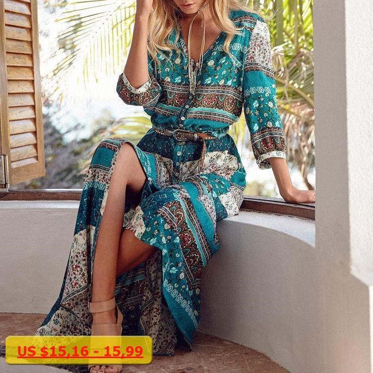 Women Bohemia V-neck Ethnic Floral Print Maxi Dress Russian Style Retro Long Dress Summer Beach Boho Long Dress chic vestidos