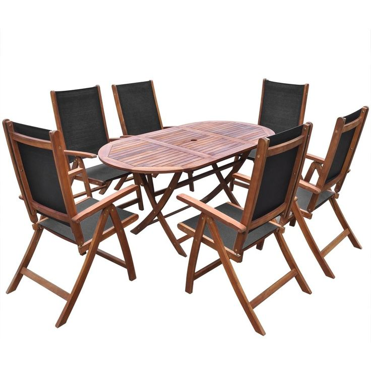Details about 7 Piece Folding Outdoor Garden Dining Set Oval Table and Chairs  Acacia Wood