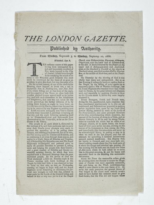 the only newspaper printed in london at the time of the great fire of london was