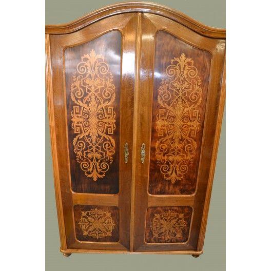 Unikalna, dwudrzwiowa szafa Thonet po renowacji. wys.168 szer. 110 gł.52 . Szafa ozdobiona dekoracyjnym malowanym wzorem, Mebel z kompletu do sypialni prezentowanego w katalogu Thonet z 1904r.