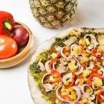 Pineapple and spinach pesto vegan pizza.