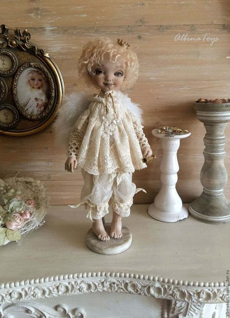 Купить Ангел хранитель. - бежевый, кружево, кружевной, кукла ручной работы, коллекционная кукла