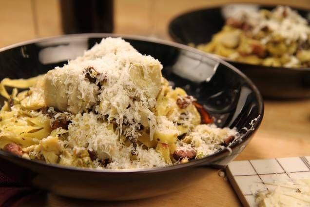 Pasta med kronärtskockor samt svamp och pistagenötsmix - Mitt kök