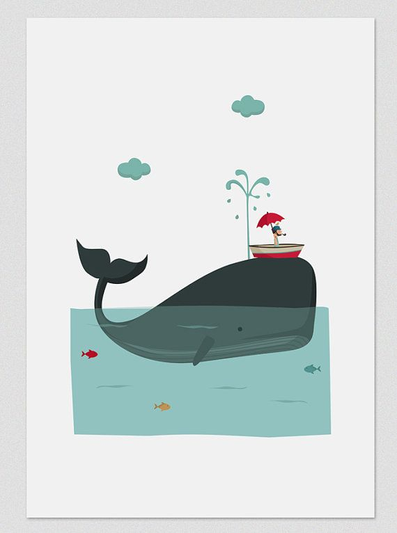 Illustration. Big blue whale. Print A4. Wall art by Tutticonfetti