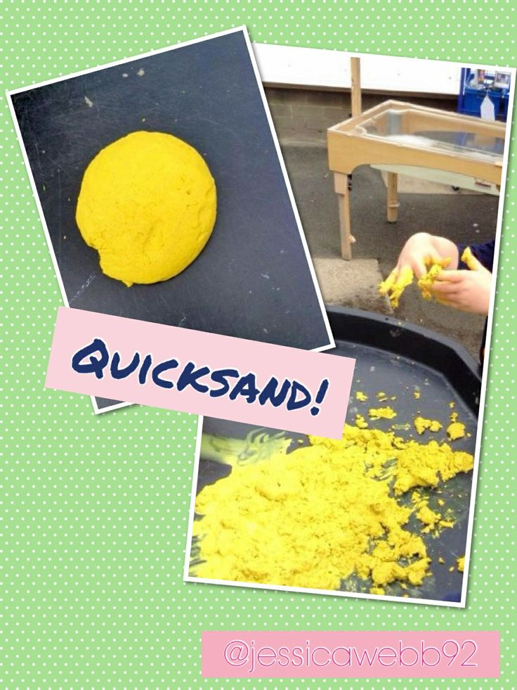 Quicksand! 3 cups of sand, 2 boxes of cornflour, paint and a small amount of water. It moulds when you move it and begins to 'run away' from you when you hold it still. We particularly enjoyed paddling in it!