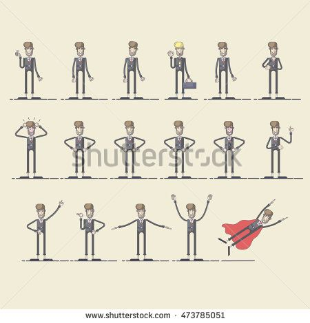 Set of Businessman with different pose. Vector illustration of a flat design