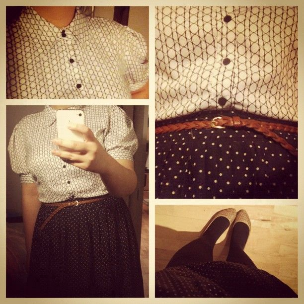 New (blouse) and old (skirt) #ValueVillage. Flats from Ardene. #whatiwore #dailyoutfit #ootd #vintage