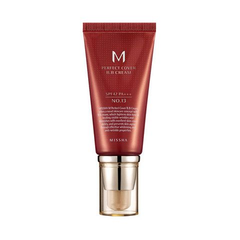 Missha Perfect Cover BB Cream SPF 42 mix with Covergirl Outlast Stay Fabulous 3-in-1 Foundation, Medium Beige 842 for natural skin look