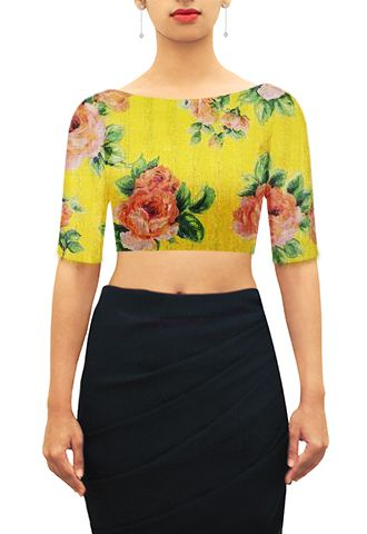 floral yellow boat neck
