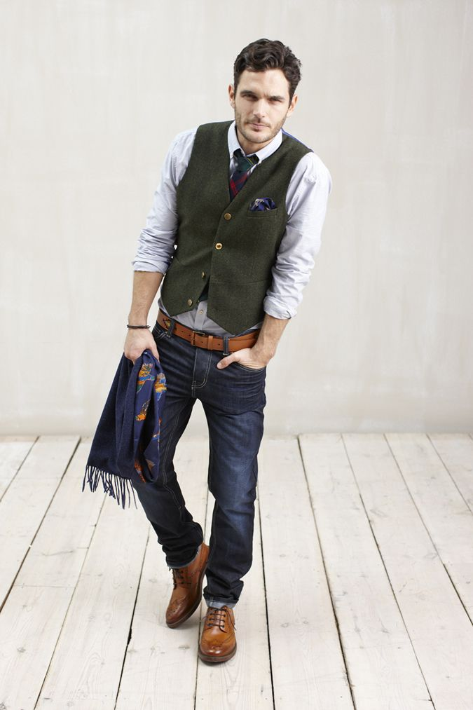 Joules Mens Herringbone Tweed Waistcoat With Jeans Look Great