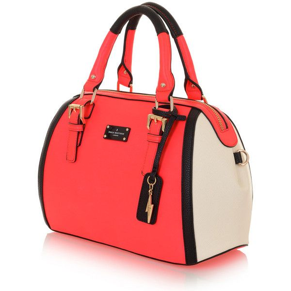 Bailey Bowler Bag Neon Coral/Nude (£69) ❤ liked on Polyvore