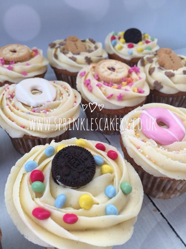 An updated photo of biscuit treat cupcakes... Yummy vanilla sponge and buttercream topped with your favourite mini biscuits and whatever sprinkles you have in the cupboard. A hit with the kiddies or grown ups!
