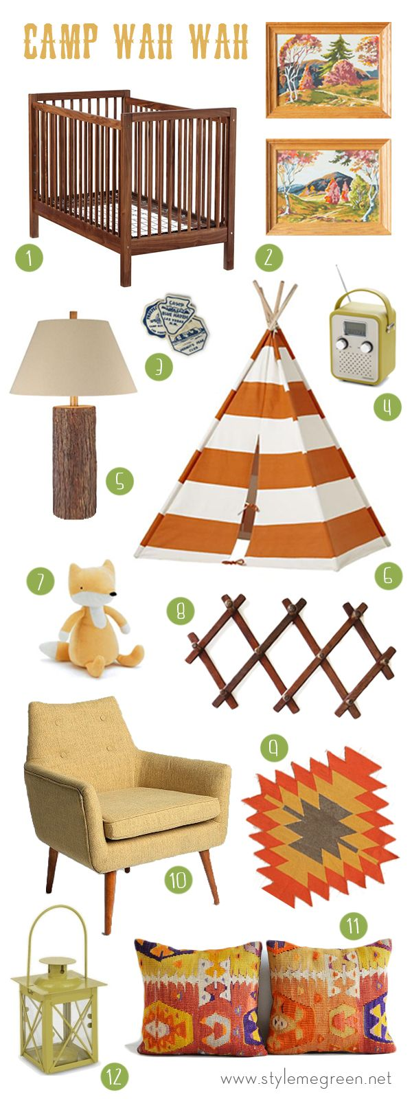 CAMP THEMED NURSERY INSPIRATION Very fun!  I love the orange colors.