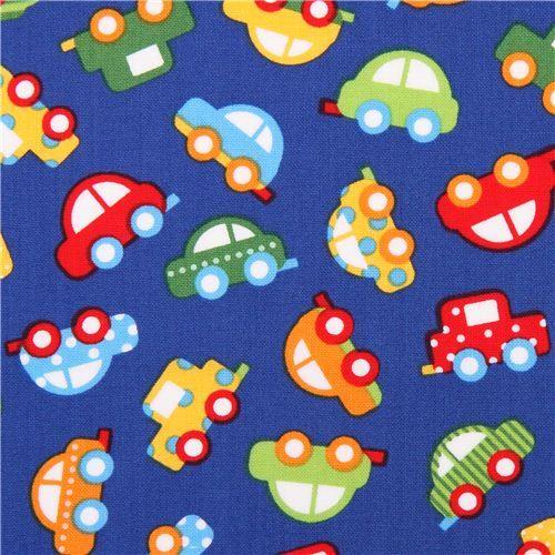 blue mini car fabric by Robert Kaufman Ready Set Go