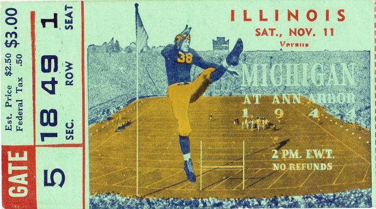 Michigan football tickets! The best vintage Michigan football tickets turned into canvas art! http://www.shop.47straightposters.com/