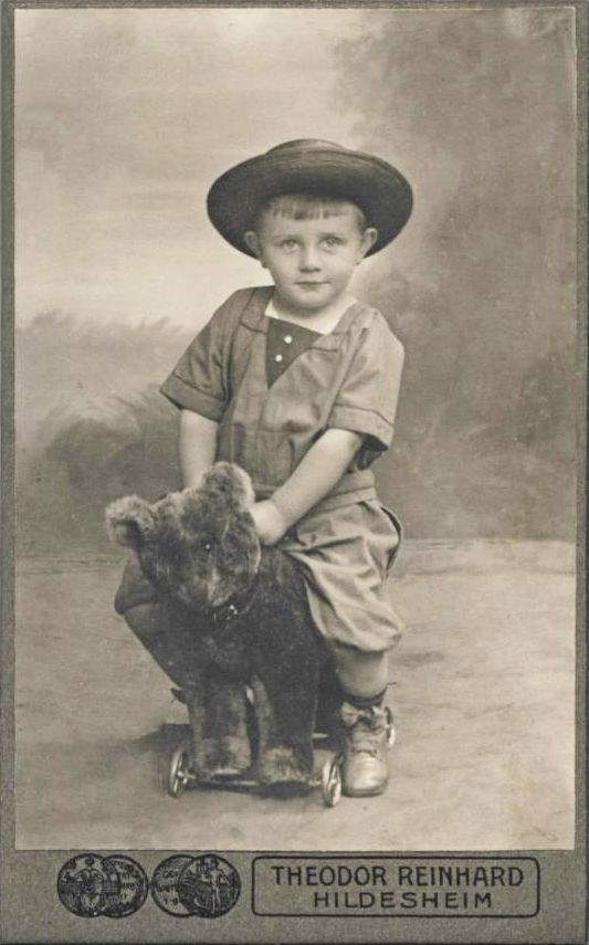 +~+~ Antique Photograph ~+~+ Little boy with Teddy Bear Toy on Wheels. ca. 1910