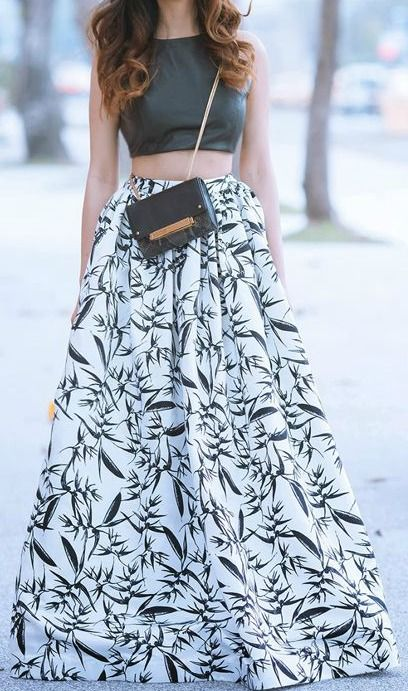 Flowy printed black and white skirt with black crop top