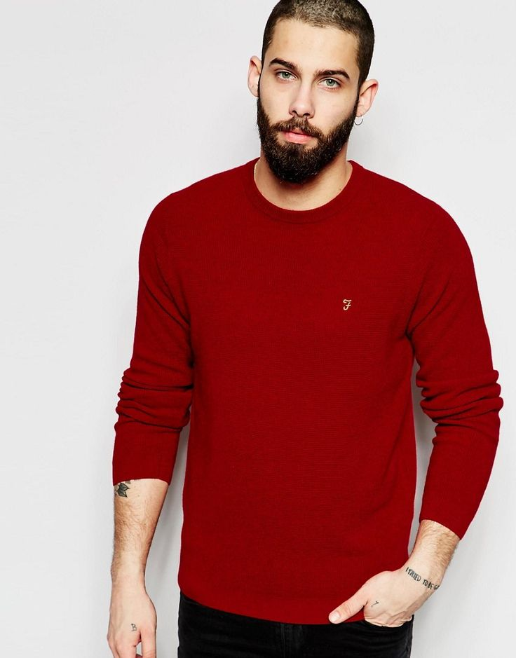 Farah+Jumper+with+Waffle+Knit+Regular+Fit