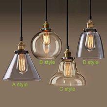 Ретро старинные подвесные светильники прозрачное стекло Lamshade лофт подвеска лампы E27 110 В 220 В для столовой домой Dcoration освещение(China (Mainland))