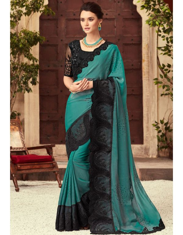 313c4a4b1a Buy Online Designer Party Wear Sarees At Best Price From Mangaldeep. Teal  Green Silk Saree with Embroidered Blouse
