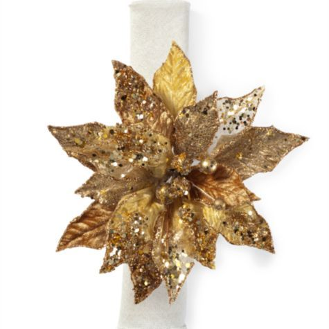 Poinsettia Napkin Ring Set Of 4 Gold From Z Gallerie