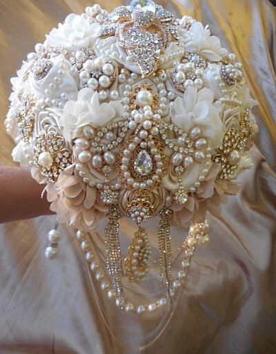IVORY AND GOLD Elegant Brooch Bouquet - Deposit for a Custom Made Jeweled Wedding Bouquet, Gold Brooch Bouquet, Full Price 525 by Elegantweddingdecor on Etsy https://www.etsy.com/listing/212427841/ivory-and-gold-elegant-brooch-bouquet